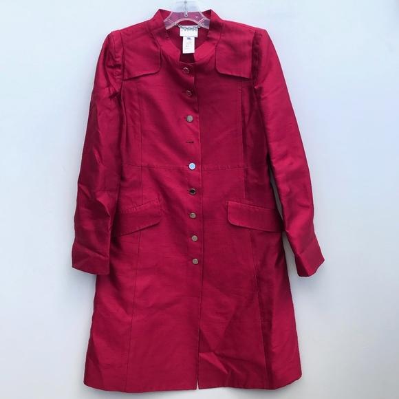 Celine Jackets & Blazers - Celine Red Pure Silk Trench Coat Size 40 #538